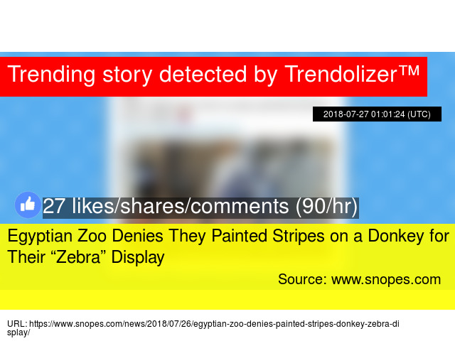 "bf227685c9e53 Egyptian Zoo Denies They Painted Stripes on a Donkey for Their ""Zebra""  Display"